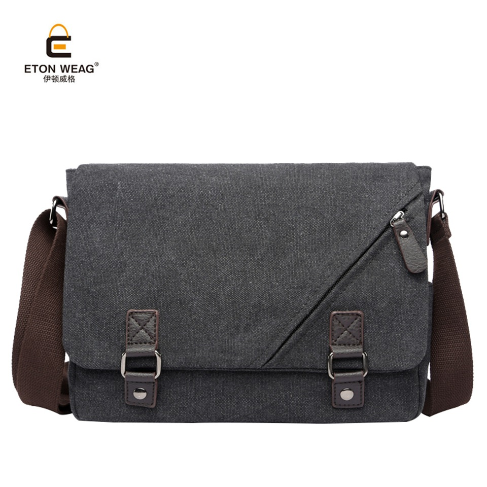 ETONWEAG New Canvas Men Messenger Bag Preppy Style Crossbody Bags Simple Casual Student Satchels Classic Vintage Handbags<br>
