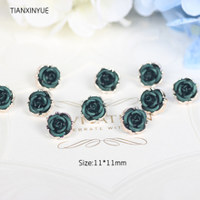 TIANXINYUE Green Rose button 50pcs/lot Diy resgin Buttons Scrapbooking Fabric Covered Buttons Sewing Accessories