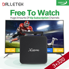 X98 PRO TV Box Android 6.0 Dalletektv 4K 3GB 32GB HD WiFi Multi-language + QHDTV Code Portugal Channels French Arabic IPTV Box
