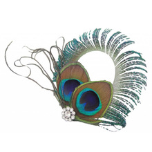 MAKE Hot NEW Circle Design Peacock Feather Hair Clips(China)