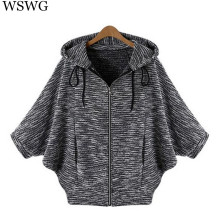 2017 Batwing Sleeve Cardigan Solid Sweater Three Quarter Hooded Poncho Flat Knitted Cardigans Fashion Women Sweater Autumn 60340