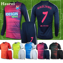 Hearui High-end Custom Long Sleeve Soccer Jersey 2017 New Blank Soccer Training Suit Football Team Uniforms Sets High Quality