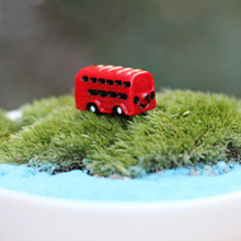 fairy garden miniatures 1 pcs mini decoration Red mini bus Micro Landscape  Meaty plant Decorations Resin craft