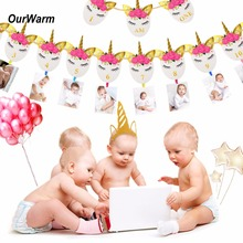 OurWarm 1st Birthday Decorations Happy Birthday Banner Unicorn Party Decoration 12 Month Photo Banner Unicorn Headband I AM ONE(China)