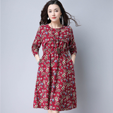 Vintage Women Long dress Print Slim National Cotton And Linen Accept Waist Windy Place Dresses Red Navy 8358