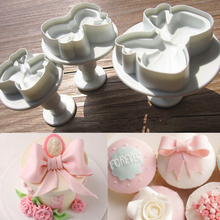 Hot sale 2017 3pcs Bow Knot Cake Icing Decorating Cookie Plunger Cutters Fondant  Tool New ZH846
