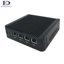 Fanless Mini PC Windows 10 Rugged Aluminum Case Intel Celeron J1900 Quad Core HTPC 4 LAN VGA Desktop Computer
