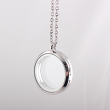 30mm round magnetic float locket necklace with free chain live memory plain glass floating locket jewelry JJAL N315