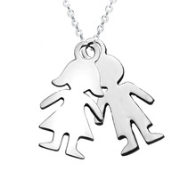 Personalized Baby Girl Boy Necklace Pendant Stainless Steel Kids Necklace Family Necklace Gift For Mom and Papa(China)