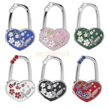 Heart Rhinestone Flower Foldable Handbag Purse Table Hook Hanger Holder 6 Colors