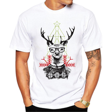 2016 Men's Christmas T-shirt Fashion Christmas hipster deer Printed Men T Shirts Short Sleeve Funny Tops gt191(China)