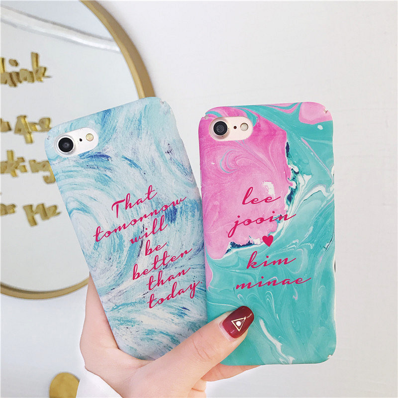 Art painting iphone 6 Cases Colorful Color Letter Pattern Hard PC Plastic Back Cover Apple iPhone 7 8 6 6S Plus X Case