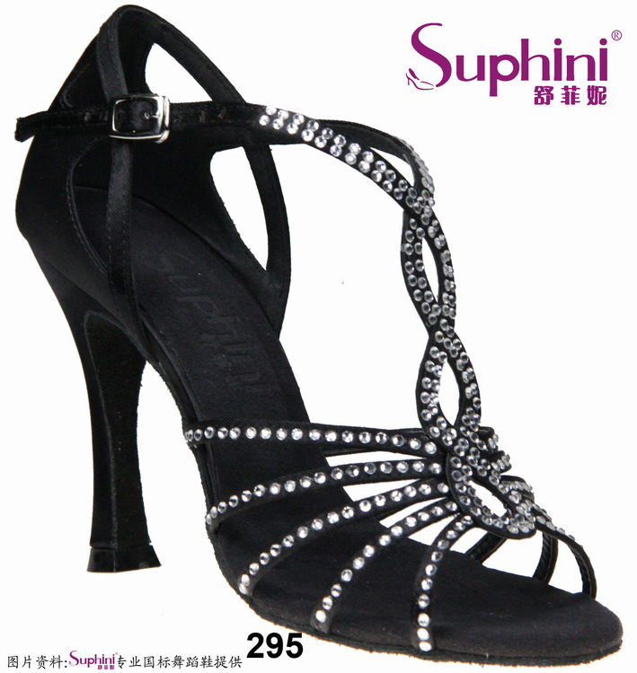Free Shipping Suphini Woman Black Salsa Dance Shoes, High Heel Latin Dance Shoes  295<br><br>Aliexpress