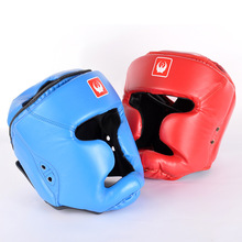 2016 New PU Leather Boxing Head Guard Headgear Boxing Protection Trainning Helmet Boxing Helmets Free Shipping(China)