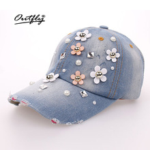 Rhinestones Jean Leisure CAP woman High Quality snapback Baseball Cap Fashion Vintage Female Casual Cap flower Denim hat b133