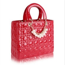 Ladies' fashion handbags vintage red leather brand checkered colored candy bag popular Messenger bag drop shipping