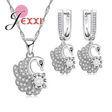 JEXXI 2017 New Fashion Bridal Jewelry Sets with Cubic Zirconia Earrings and Necklace Pendant Swan Jewelry Sets for Women