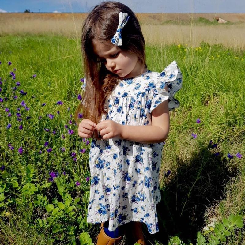 Mother nest 2018 Summer New Girls Flower Puff Sleeves Dress Cotton Children Kids Clothes Toddler Baby Birthday Kids Dresses (22)