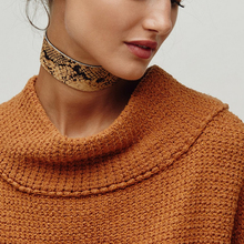 New Arrivals PU Leather Choker Necklace Vintage Hyperbole Imitation Snake skin Necklaces For Women Girls Fashion Jewelry colar