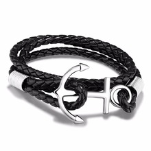 Fashion Jewelry Male Accessories Cowide Leather Vintage Stainless Steel Anchor Shape Bracelets Delicate Man Bangles PH1154