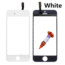 For iPhone 5C Touch Screen Digitizer Replacement Parts 5C TouchScreen Outer Glass Lens With Flex Cable+5ML UV glue