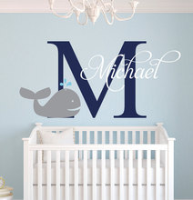 Customize Nautical Whale Baby Name Cute Elephant Wall Stickers For Boys Bedroom Kids Room Baby Wall Decals DIY Vinyl JW009A