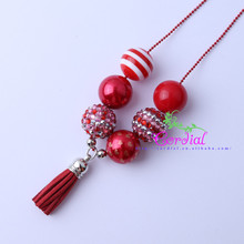 Free Shipping Fashionable Cute Design Handmade DIY Jewelry Chunky Bubblegum Beads Red Tassels Pendant Kids Necklace CDLN-0004
