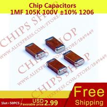 1LOT=100PCS Chip Capacitors 1uF 105K 100V 10% 1206 1000nF 1000000pF Package1206 (3216 Metric) SMD