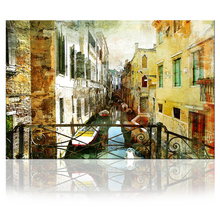 Vintage Architecture Prints Venice Grand Canal Boat Wall Art Canvas Italy Town Cityscape Painting Abstract Watercolor Picture(China)