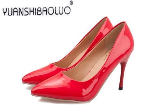 2017pring and summer solid color patent leather sexy thin heels high-heeled pointed toe shoes work shoes sexy<br><br>Aliexpress