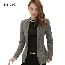 2017 autumn Female Casual Women jacket Office Solid Slim Fit jacket For Women Notched Formal Work Jacket Black Green coat(China)