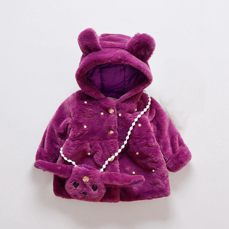 12M-4T Baby Clothing Jackets&amp;Coat Baby Girl Clothes Cute Cartoon Bag Hooded Keep Warm Cotton Coat Baby Girl Coat For Winter V20<br>