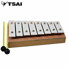 TSAI Early Childhood 8 Notes Musical Teaching Aid 8 Octave Baby Hand Knock Wooden Xylophone Educational Arouse Toy Free Shipping(China)