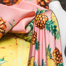 Couture fashion heavy chiffon Fabric,faux silk satin,pink color,fruit pineapple pattern,smooth,Sewing,Skirt,Fabric by the yard