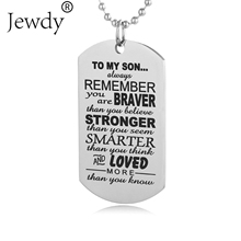 Stainless Steel Mom Dad Son Tag Engraved Pendant Necklace Silver Mother Father Kids Love Necklace Simple Fashion Family Jewelry(China)