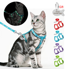 Leash-Set Harnesses Name-Tag Cats Kitten Customized Nylon Anti-Lost And with Blue Red