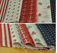 Red blue navy boat patchwork Linen Cotton Fabric  Handmade Patchwork fabric  Curtain Table Upholstery Fabric110*50cm