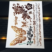 1PC 3D Large Flying Butterfly Gold Flash Tattoo Stickers PYS-64 Dragonfly Summer Henna Tattoo Paste Jewel Design Roses Pendant