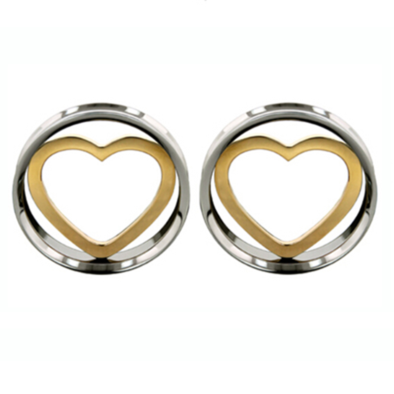 2 pieces stainless steel double flare screw fit ear plug gauges flesh tunnel Eyelet 18K Gold Heart Insert(China (Mainland))