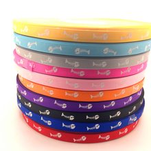 Free Shipping 5 Yards 3/8'' 10mm Printed Fish bone Grosgrain Ribbon Hair Bow/Christmas/wedding DIY Sewing ,#GD141-150(China)