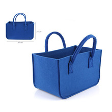 wholesale Blue Felt Handbags Simple Hand made Felt Bag Large shopping female felt tote bag Blue Women felt Shoulder Bag for lady