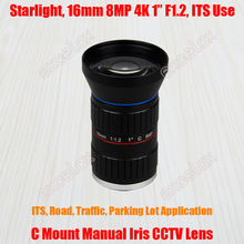 "Starlight 8MP 4K 1"" 16mm F1.2 Manual ITS Road Traffic Surveillance CCTV Lens C Mount for 5MP 6MP 8 Megapixel HD Box Body Camera(China)"