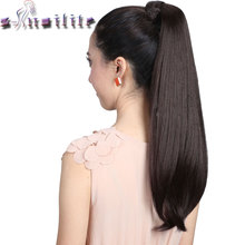 "S-noilite Women 24/26"" Drawstring Pony tail Long Straight Hair Extensions Piece Wrap Around Ponytail Real Natural Synthetic"