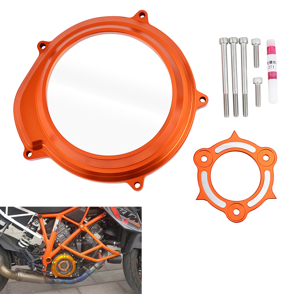 H2CNC Engine Transparent Clutch Cover Guard Pressure Plate Protector Kit For KTM 1090 /1050 Adventure & 1290 Superduke R /GT LC8