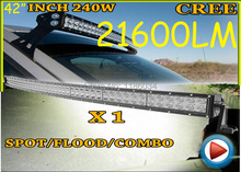Free UPS ship!1pcs/set,42inch 240W 21600LM Curved,10~30V,6500K,LED working bar,Boat,Bridge,Truck,SUV Offroad car,black,180W