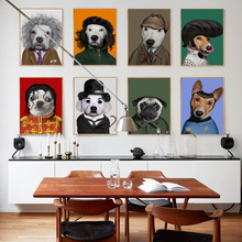Bianche Wall Modern Dog Animal Dress Up Funny Star Modeling A4 Canvas Art Painting Print Poster Picture Wall Fashion Home Decor(China)