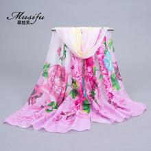 Women Scarfs 2017 Beach Shawl Ladies Imitation Silk Chiffon Scarf Sarongs Hijab Flower/Feather/Wig Printed Scarves Plus Size