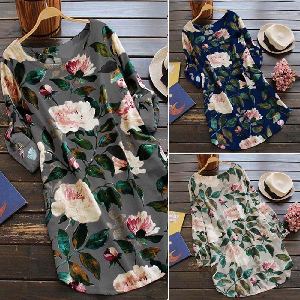 19 New Women Loose Floral Print Dress Ladies Mini Dress Summer Casual Party Dresses Long Sleeve Dress Plus Size 1