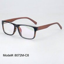 8072M  Rectangle TR90 eyewear spring hinged wooden temple RX optical frames  fashion eyeglasses