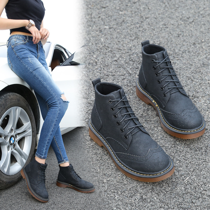 Winter Boots Brand New PU Leather Womens ankle Lace Up Martin Boot short boots motorcycle flat Students Shoes Plus size 35-43<br>